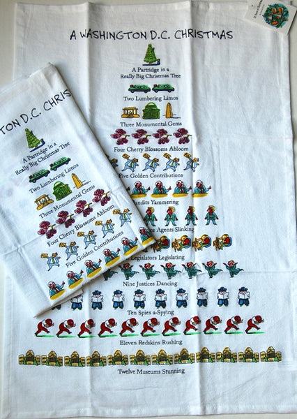 "Twelve Days Of A Washington DC Christmas Dish Towel - 18"" x 26"""