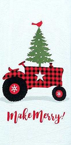 Kay Dee Designs Buffalo Check Holiday Tractor Tree Flour Sack Dish Towel