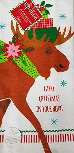 Kay Dee Festive Moose Christmas Dual Purpose Terry Kitchen Dish Towel