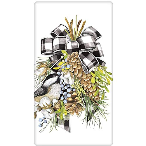 Mary Lake Thompson Chickadee and Pine Swag Holiday Dish Towel