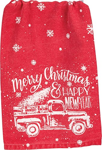 Red Truck Snowflakes Merry Christmas Happy New Year Holiday Kitchen Dish Towel