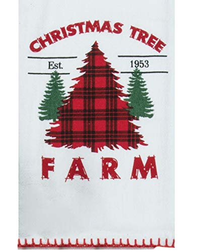 Holiday Farmhouse Christmas Tree Farm Plaid Kitchen Dish Flour Sack Towel