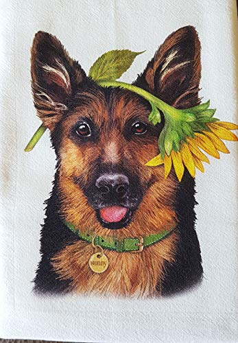 "Mary Lake Thompson German Shepherd Dog Sunflower 100% Cotton Flour Sack Dish Tea Towel 30"" x 30"""