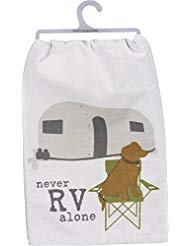 Primitives by Kathy - Never RV Alone Dog Dish Towel
