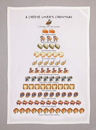 "Twelve Days Of A Cheese Lover's Christmas Kitchen Dish Towel - 18"" x 26"""