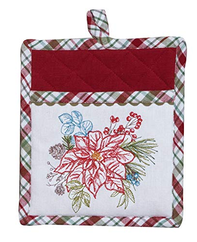 Our Christmas Story Poinsettia Plaid Embroidered Kitchen Oven Pocket Mitt