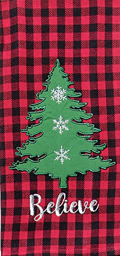Kay Dee Designs Checkered Applique Christmas Tree Dish Tea Towel