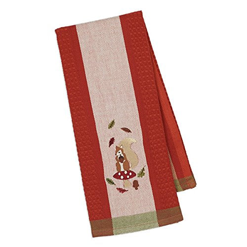 Design Imports Autumn Squirrel Embroidered Dishtowel