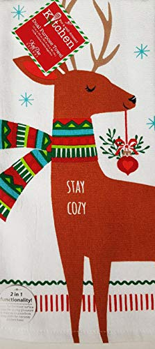 Kay Dee Festive Forest Stag Deer Christmas Dual Purpose Terry Kitchen Dish Towel