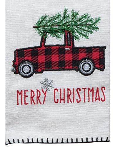 Red Plaid Camp Christmas Pickup Truck Applique Kitchen Dish Tea Towel
