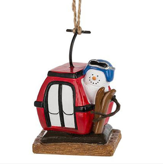 Marshmallow S'Mores Skier in Gondola Christmas Ornament