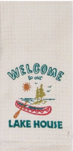 "Welcome To Our Lake House Embroidered 100% Cotton Waffle Dish Towel / Tea Towel, 18"" x 28"""