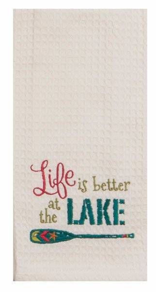 "Life Is Better At The Lake Embroidered 100% Cotton Waffle Dish Towel / Tea Towel, 18"" x 28"""