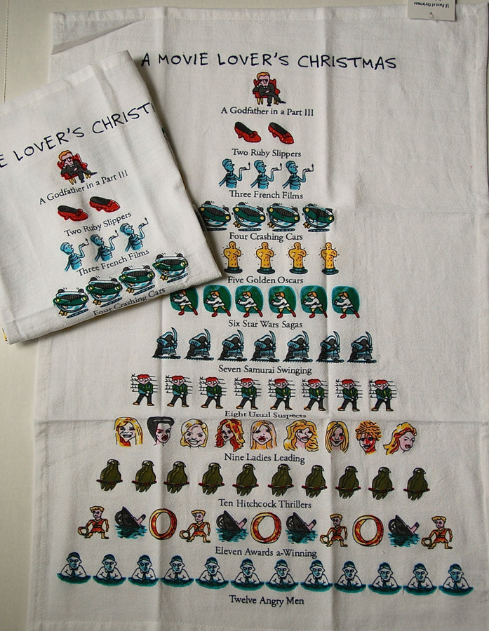 Holiday Flour Sack Kitchen Tea Towel A Movie Lovers Christmas 12 Days