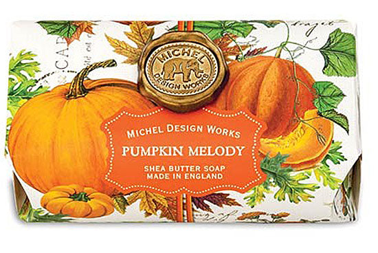Michel Design Works Oversized Triple Milled Shea Butter Bath Soap Bar, Pumpkin Melody