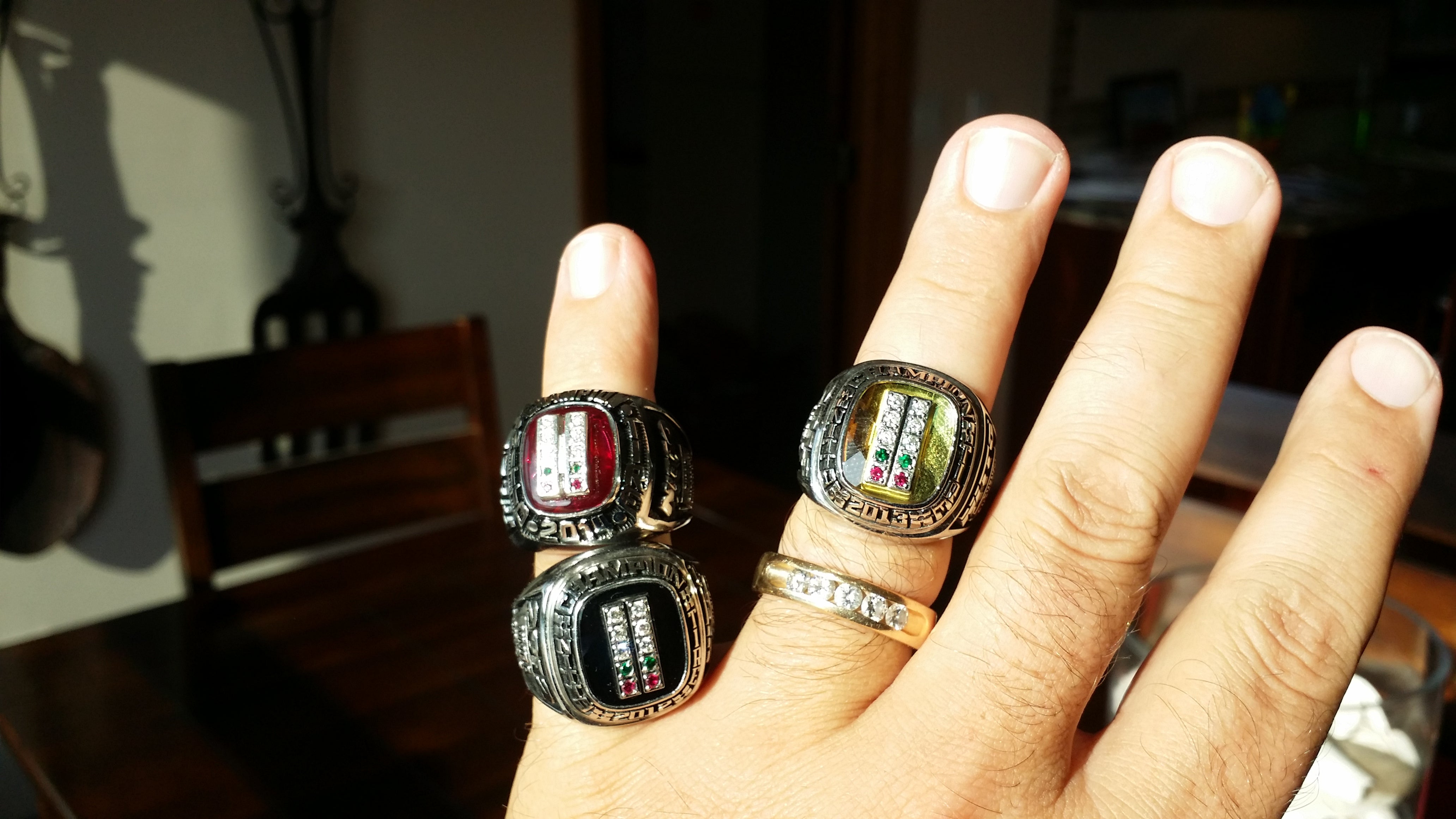 "Terry ""Beefcake"" Reeves shows off his trio of Super Bowl Rings"
