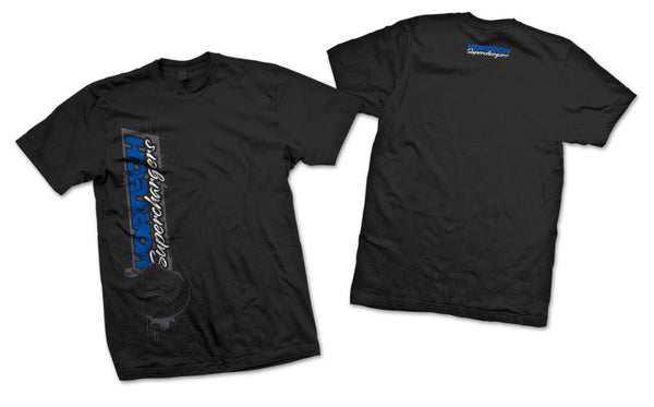 "Vortech Superchargers ""Vertical"" Design 3-Color On Black T-Shirt"