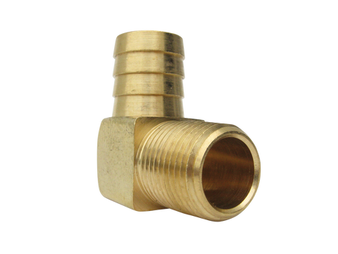 "Fitting, 1/2"" NPT x 3/4"" Barb 90°, Brass"