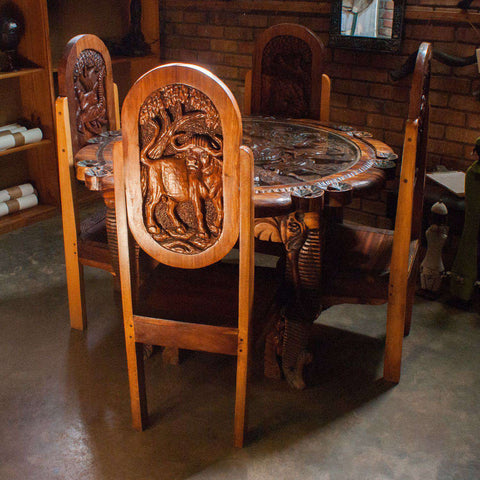 4 Seater Big 5 African (Animals) Dining Table with Chairs - Manduwe.com