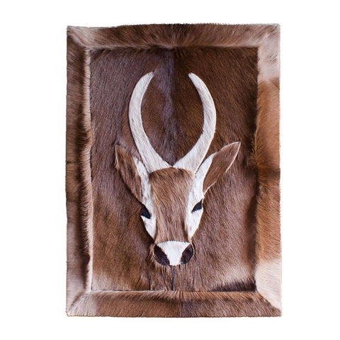 African Impala Skin/Hide Mat Cut with Design - Manduwe.com