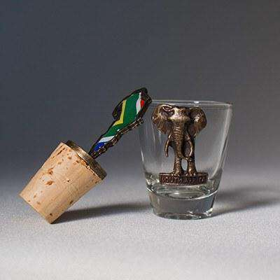Hand carved Shot Glass & Wine Cork - Africa Handmade