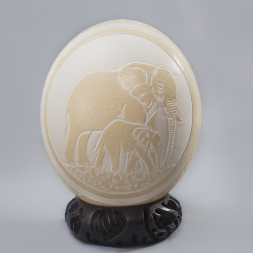 Africa And Its Elephants Etched Ostrich Eggs - Africa Handmade
