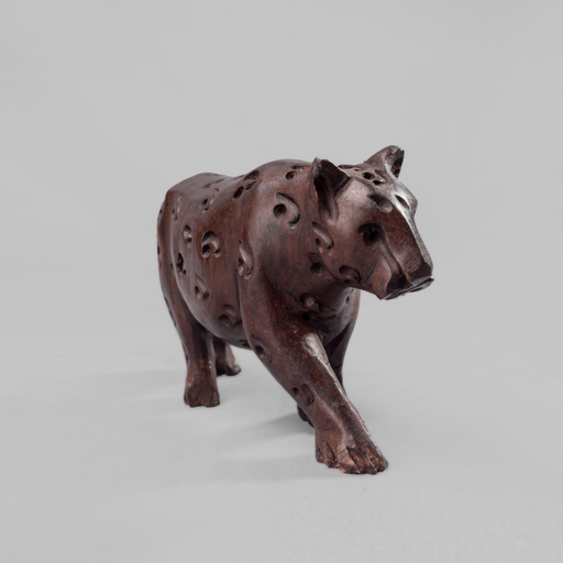 African Leopard Ebony Wood Carving - Africa Handmade