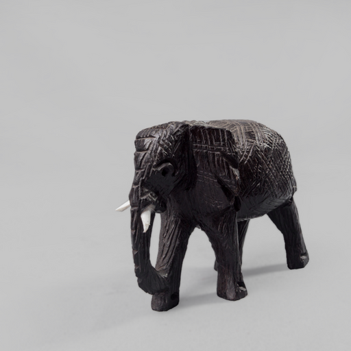 African Elephant Ebony Wood Carving - Africa Handmade