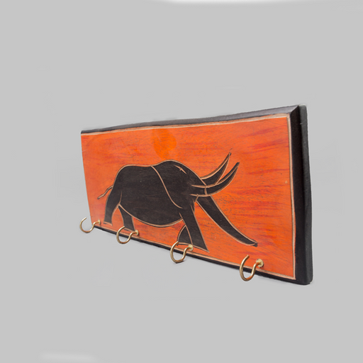 African Elephant & Sunset Painted Key Rack - Africa Handmade