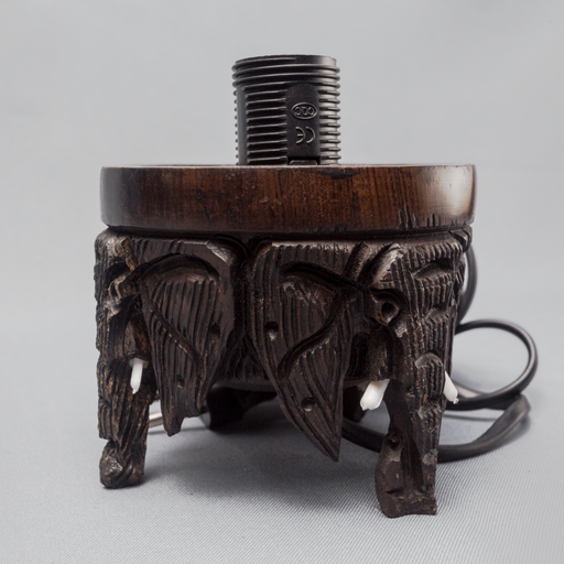 Elephant and Tusks Ebony Wood Lamp Holder - Africa Handmade