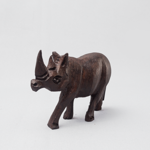 Rhino Ebony Wood Carving - Africa Handmade