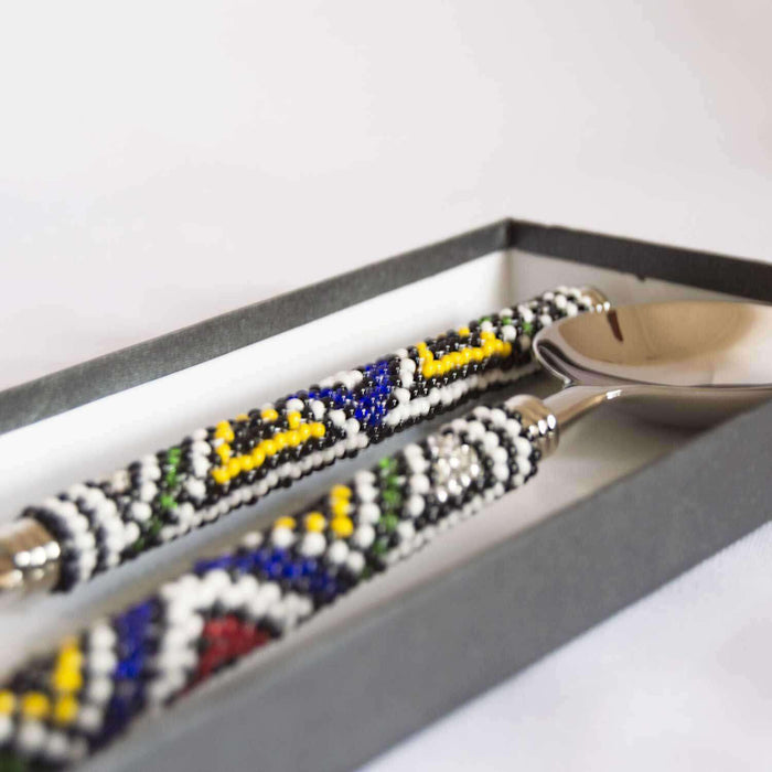Beaded Ndebele Design Salad Servers - Africa Handmade