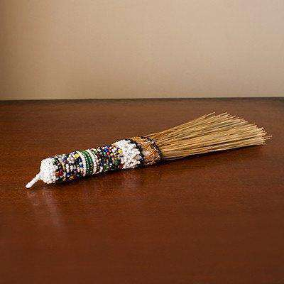 Beaded Display Broom - Traditional African (Woven Grass) - Africa Handmade