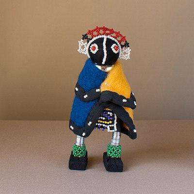 Beaded Ndebele Clan African Woman Doll - Traditional Ceremony Doll Small - Africa Handmade