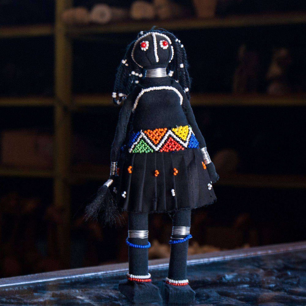 Beaded Ndebele Clan Sangoma (Traditional Healer) Woman Doll - Africa Handmade