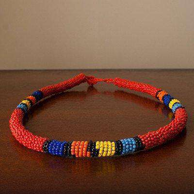 Beaded Ndebele Clan Women's HeadBand & Bangle (Red) - Africa Handmade