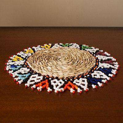 Beaded Zulu Clan Place Mat (Bead & Woven Grass) - Africa Handmade