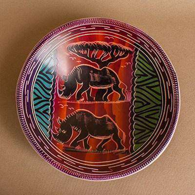 Decorated Serving Bowl Soft Clay - Africa Handmade