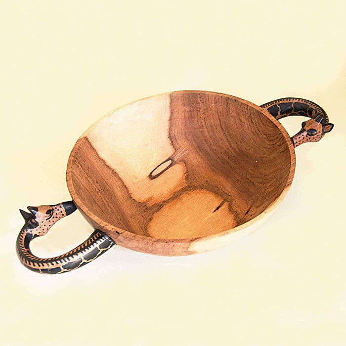 Giraffe Handle Teak Wood Round Shape Serving Bowl (Small) - Africa Handmade