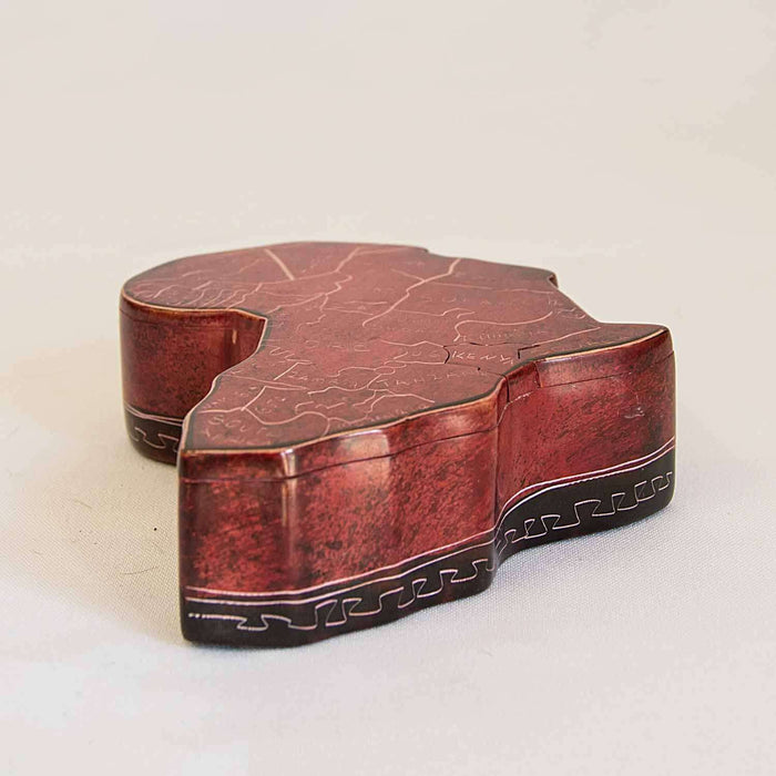 Jewelry Box Africa Shape with Key - Africa Handmade