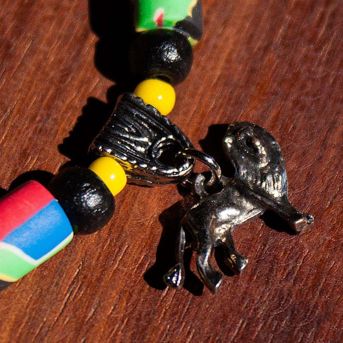 5 African Animals Charm Fimo Bracelet - Africa Handmade