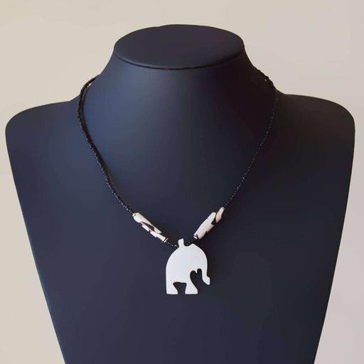 Beaded Bone Necklace Elephant - Africa Handmade