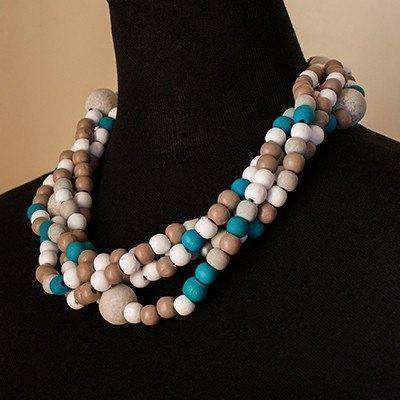 Blue & Beige Necklace by Palesa Khobane - Africa Handmade