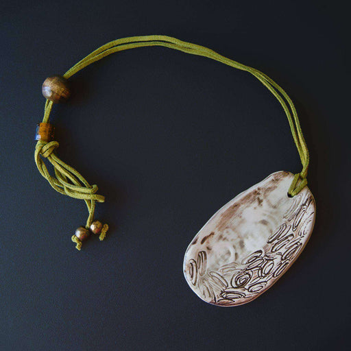 Ceramic Necklace Baked & Glazed (Abstract) - Africa Handmade