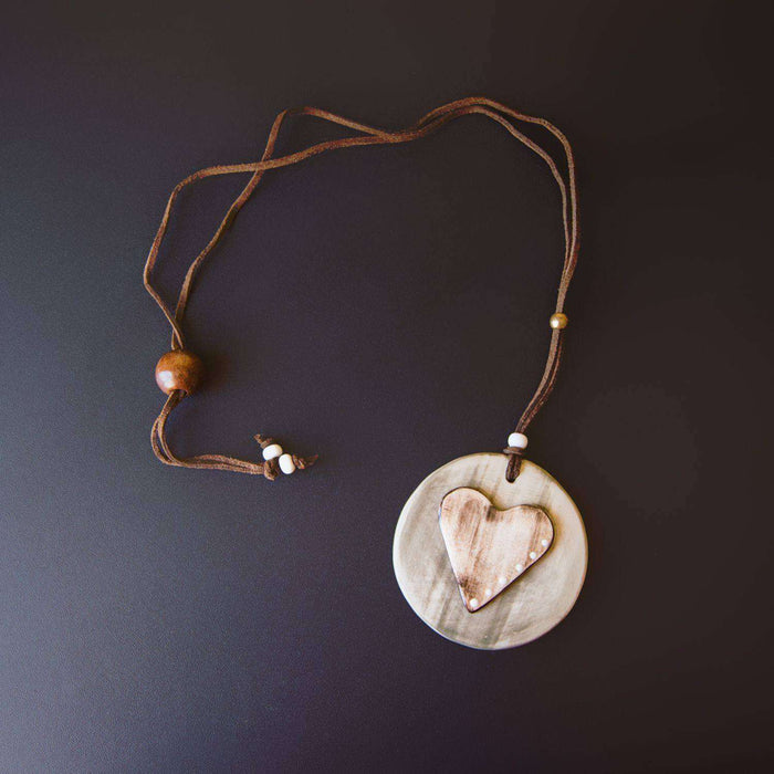 Ceramic Necklace Baked & Glazed (Love) - Africa Handmade