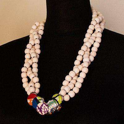 Cream Cover Button Necklace by Palesa Khobane - Africa Handmade