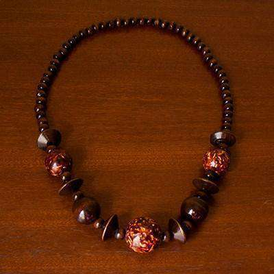 Painted Wood Beaded Necklace Brown (Gloss) - Africa Handmade