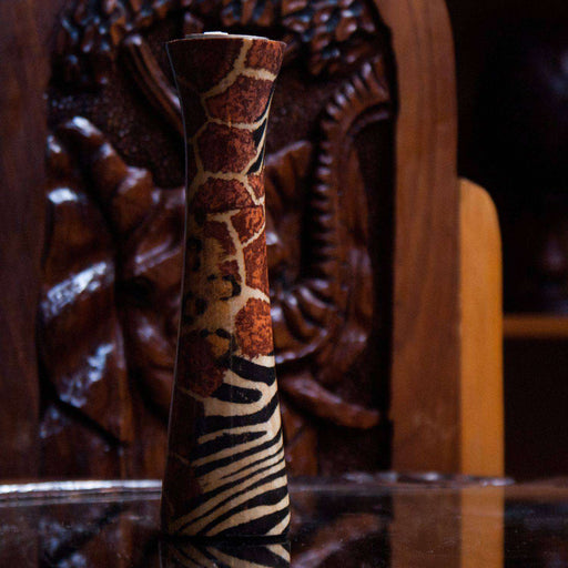 African Mixed Design Candle Holder Wood - Africa Handmade