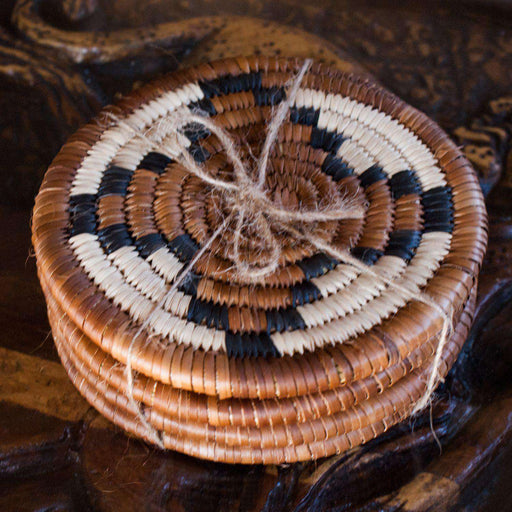African themed Woven Coasters Set of 4 - Africa Handmade