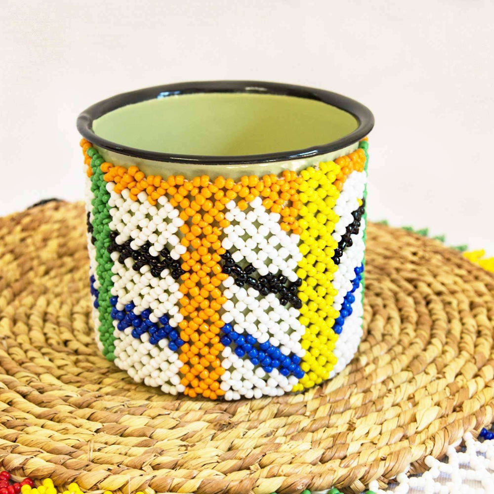 Beaded Steel Coffee Mugs Placemat Set - Africa Handmade